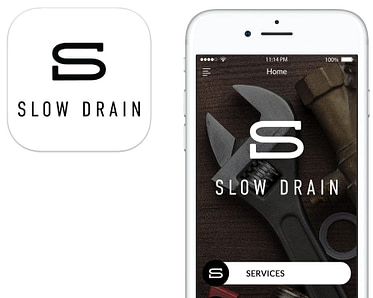 Screenshot of the Slow Drain App featuring app badge